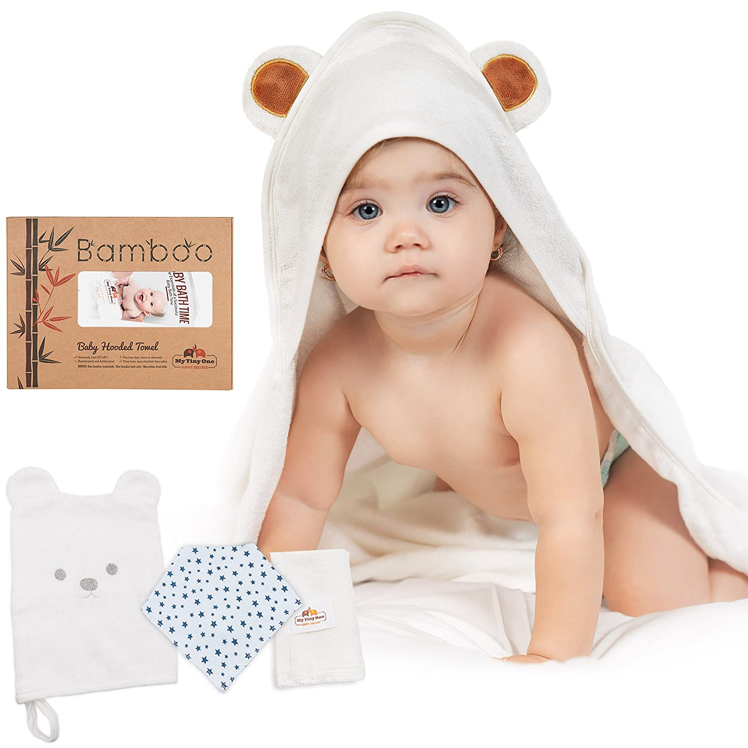 Large Hooded Baby Towel 100% Organic Bamboo | Softest Bath Towel + Washcloth Set for Girls & Boys | Perfect Size for Infants & Toddlers | Bonus 1 Bandana Drool + 1 Bamboo Bath Mitt MyTinyOne