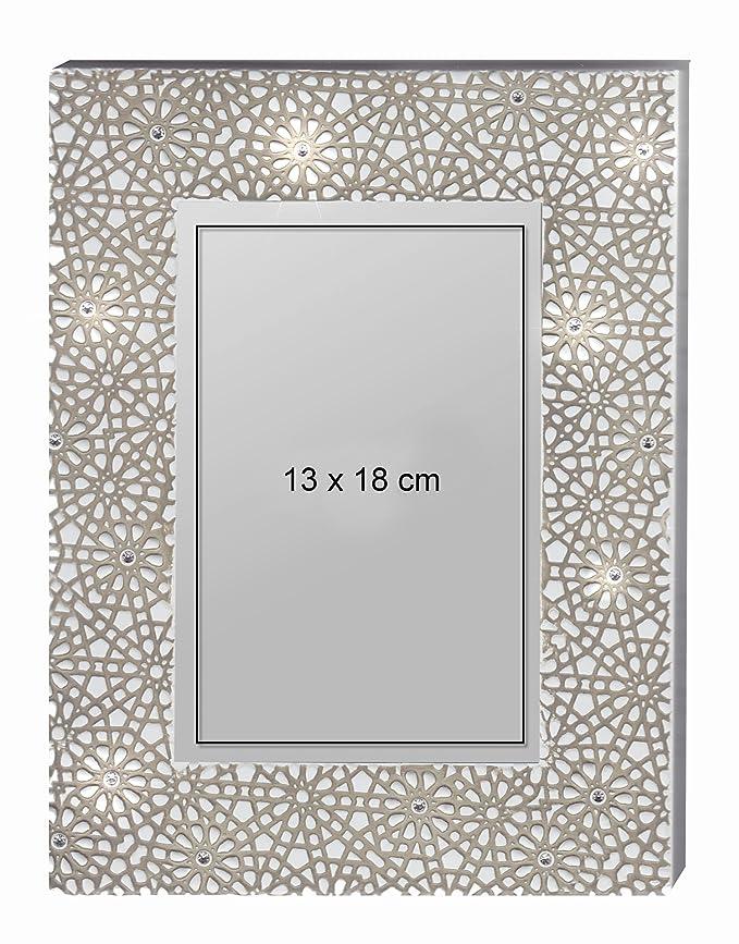 2er Set Bilderrahmen mit Weiße Perlen Strass Steine Foto Fotorahmen Bilder 13x18