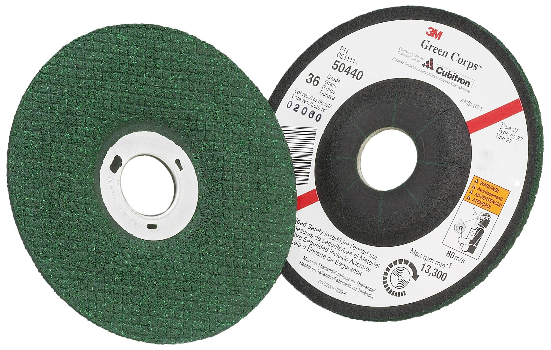 3M(TM) Green Corps(TM) Flexible Grinding Wheel, Ceramic Aluminum Oxide, 4-1/2'' Diameter x 1/8'' Thick, 7/8'' Center Hole Diameter, 46 Grit, 13300 rpm, Green  (Pack of 20)