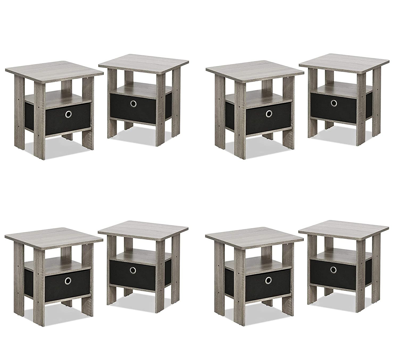 Americano//Medium Brown FURINNO 2-10004AM Bin Drawer Storage 2-Pack End Table Nightstand