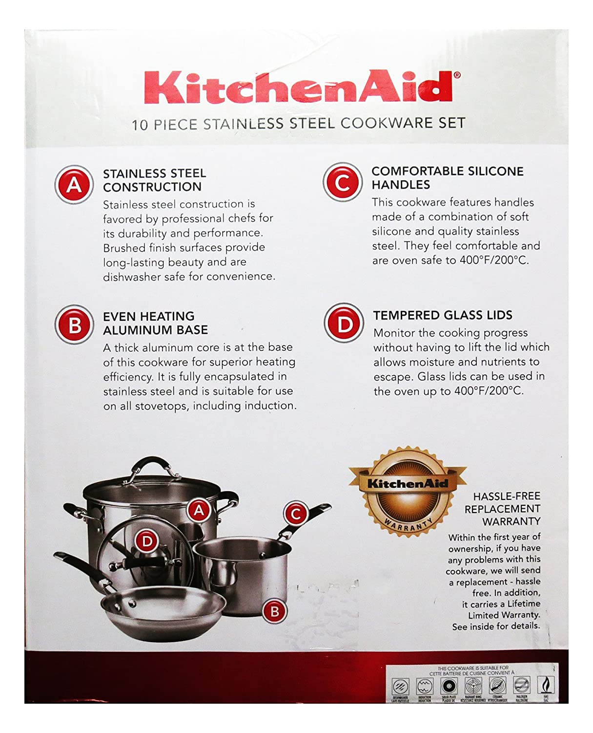 KitchenAid 10 Piece Stainless Steel Cookware Set: Amazon.ca: Home ...