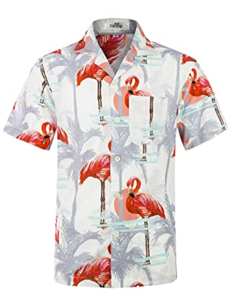 124d9e3af9ad Men s Hawaiian Shirt Short Sleeve Aloha Shirt Beach Party Flower Shirt  Holiday Print Casual Shirts Flamingo