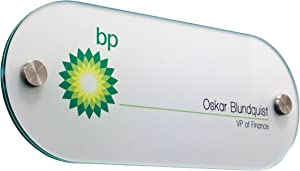 """Displays2go Rounded Office Wall Sign, 10"""" x 4"""" Oval, Green Edge with Standoffs, Clear Acrylic (DSIGN104OV)"""