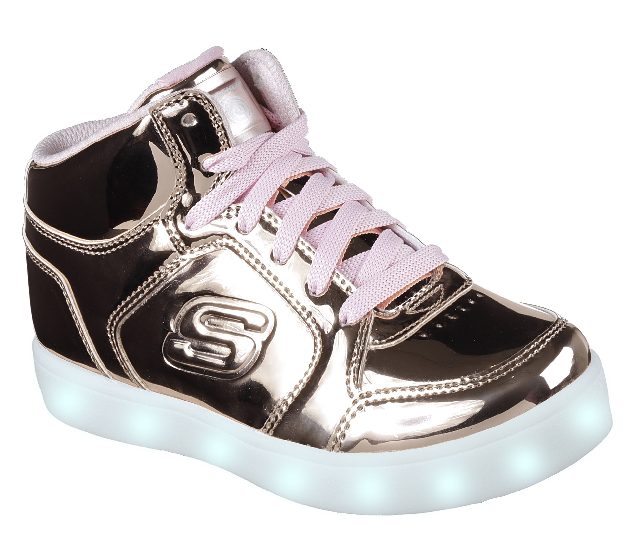 Skechers Kids Energy Lights-Dance-N-Dazzle Sneaker,Rose Gold,1 M US Little Kid by Skechers (Image #1)