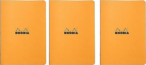 Pack of 5 Rhodia Side Staplebound Black Pocket Notebook 3 X 4.75