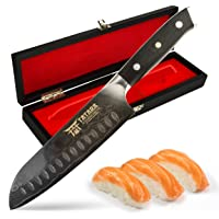 tatara santoku knife japanese sushi knife for chefs 7 inch - vg10 damascus with case review