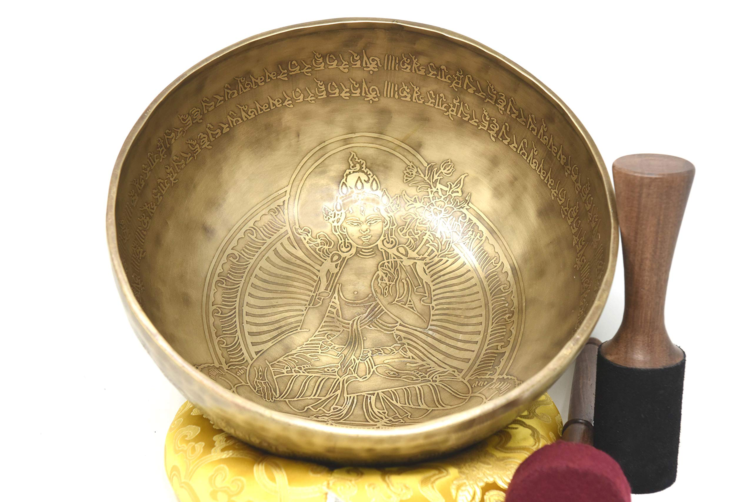 12'' Finest Meditation Mantra carved Singing bowl, Etching Tibetan Art Singing Bowl With Drum Stick Cushions and Mallet,Bowls from tibet