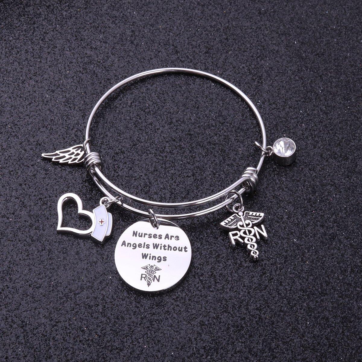 Nurse Bracelet RN Gift Wings Bracelet Nurses are Angels Without Wings Gift for Nurser Graduation AZFEIYAt