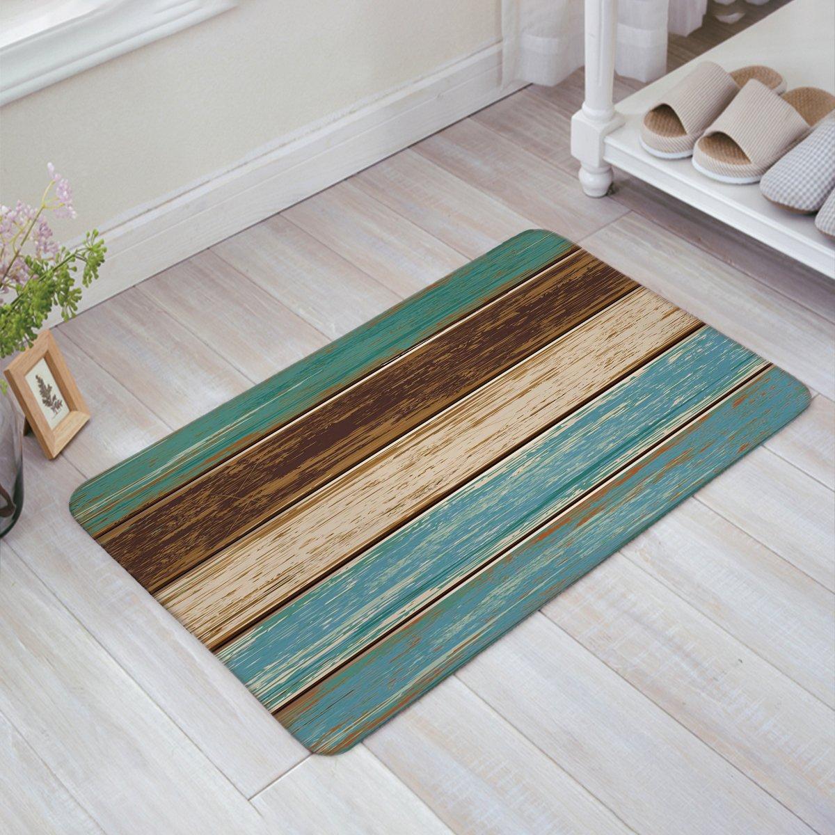 Infinidesign Welcome Doormat Kitchen Floor Bath Entrance Mat Rug Indoor/Front Door Thin Mats Rubber Non Slip 32''x20'' Rustic Old Barn Wood Retro