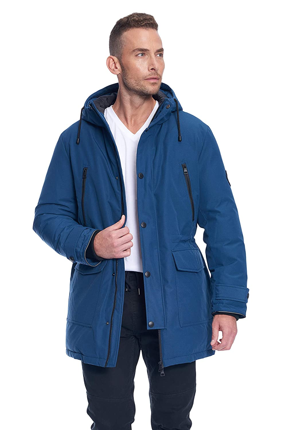 Image of Alpine North Mens Vegan Down Drawstring Winter Jacket Down & Down Alternative