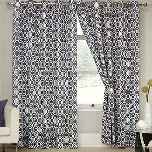 Tony s Textiles Geometric Blackout Set of 2 Curtain Panels with Grommet Eyelet Top White Gray 46 Wide x 72 Drop