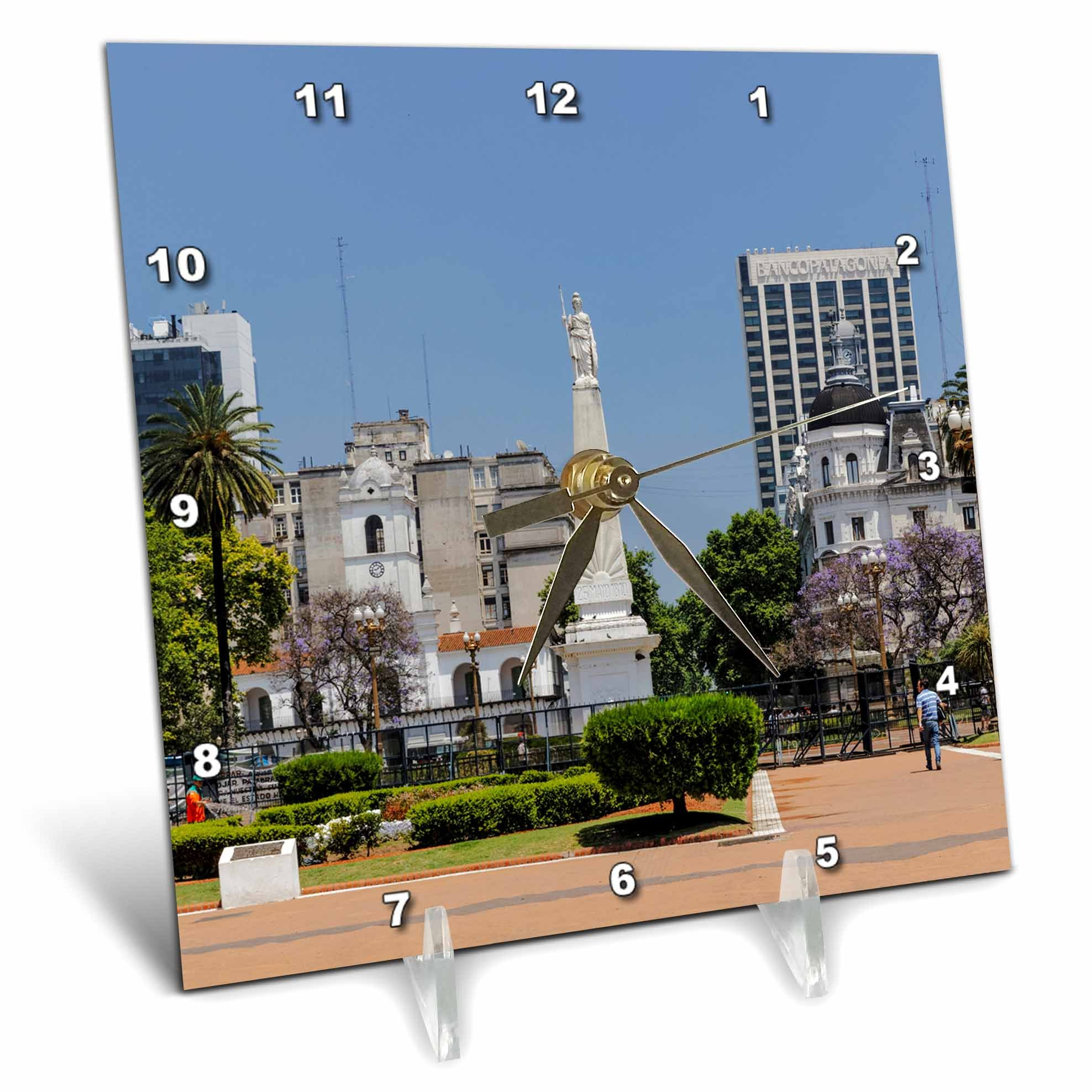 3dRose Danita Delimont - Cities - Downtown Buenos Aires, Argentina, South America, Patagonia - 6x6 Desk Clock (dc_278137_1)