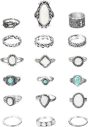 HANPABUM 18Pcs Vintage Creat Opal &Turquoise Knuckle Ring for Women Girls Bohemian Five Finger Stackable Rings Set Friendship Jewelry