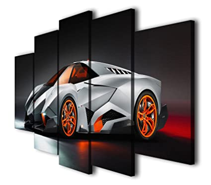HQ Art 5 Panels Lamborghini Egoista Sport Car Printed Painting Canvas Wall  Art Picture Home Décor