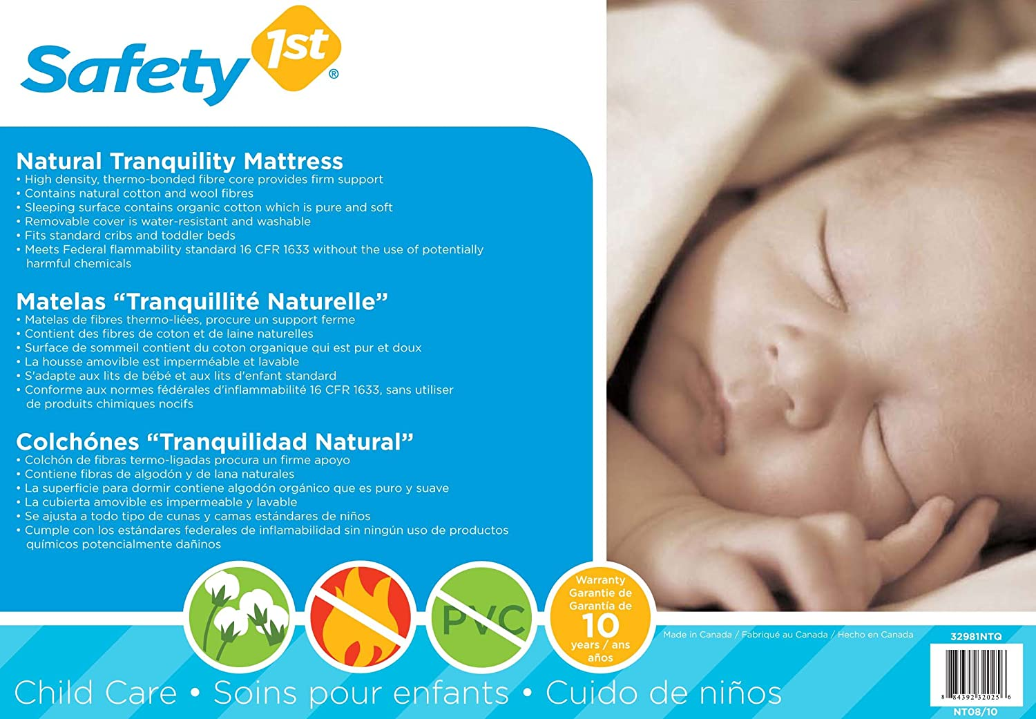 Safety 1st Natural Tranquility Baby Mattress, White (Discontinued by Manufacturer)
