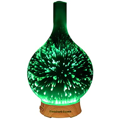 ComfortCome 100ml 3D Aromatherapy Essential Oil Diffuser, Cool Mist Humidifier with Changing Starburst LED lights, Lead Free Glass, Wood Base, Waterless Shut Off