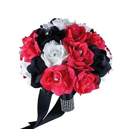 Amazoncom 10 Large Bouquethot Pink Black White Roses With