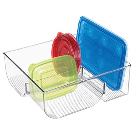 mDesign Organizador de tapaderas – Práctica caja organizadora con 3 compartimentos para guardar tapas – Moderno