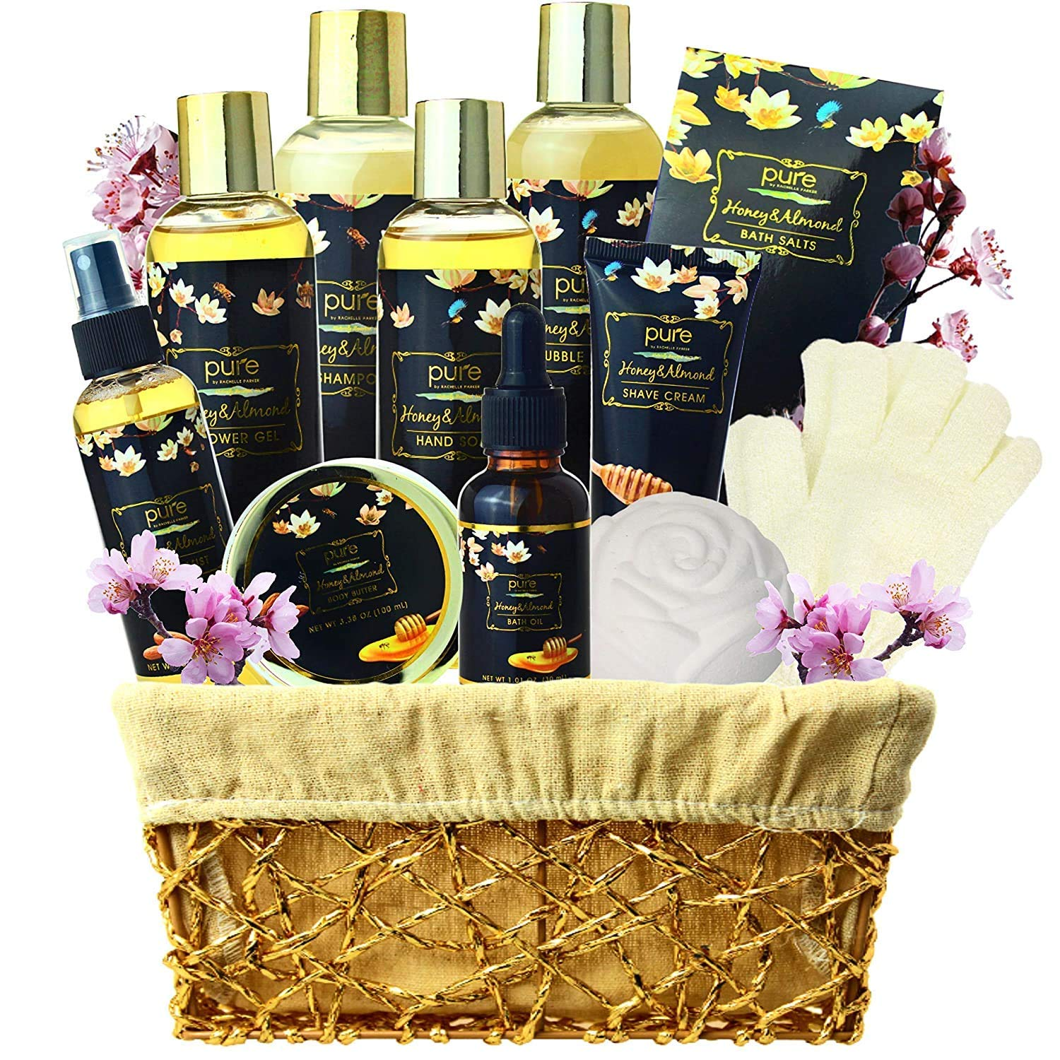 Premium XL Spa Gift Basket for Men & Women! Pampering Honey Almond Spa Gift Set Natural Bath Gift Set. Includes Bubble Bath, Body Lotion, Bath Bombs and More! (Almond Milk & Honey)