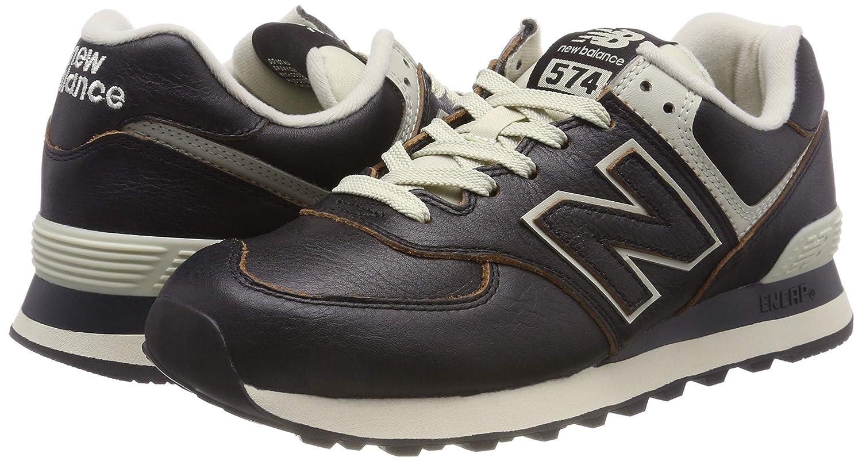 Amazon.com: New Balance Mens 574 Leather Trainers, Black, 8 US: Clothing