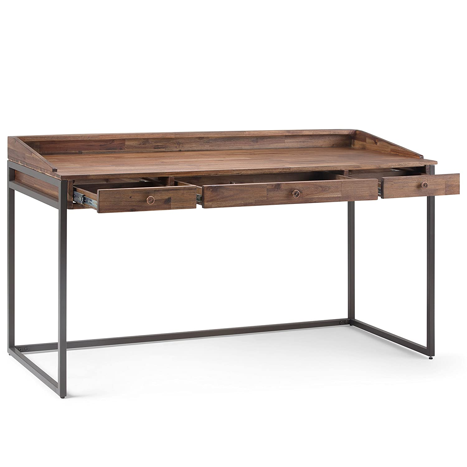 Amazon com simpli home axcrst 14 ralston solid acacia wood and metal modern industrial writing office desk in rustic natural aged brown kitchen dining