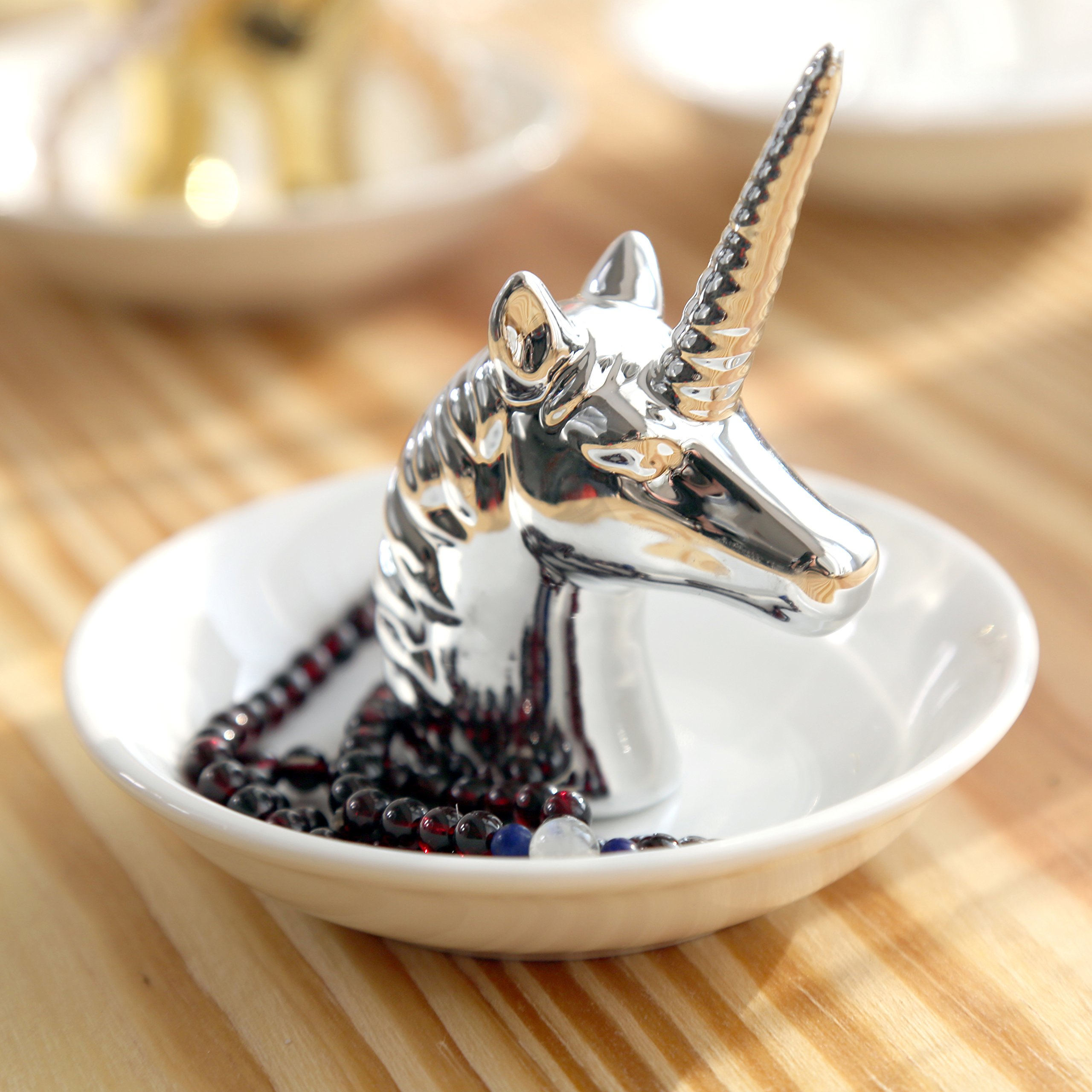 PUDDING CABIN Silver Unicorn Small Jewelry Rack Rings Bracelets Earrings Trays Holder
