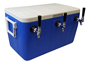 NY Brew Supply 50' Stainless Steel Coils Jockey Box Cooler with Triple Faucet, 48 quart, Blue