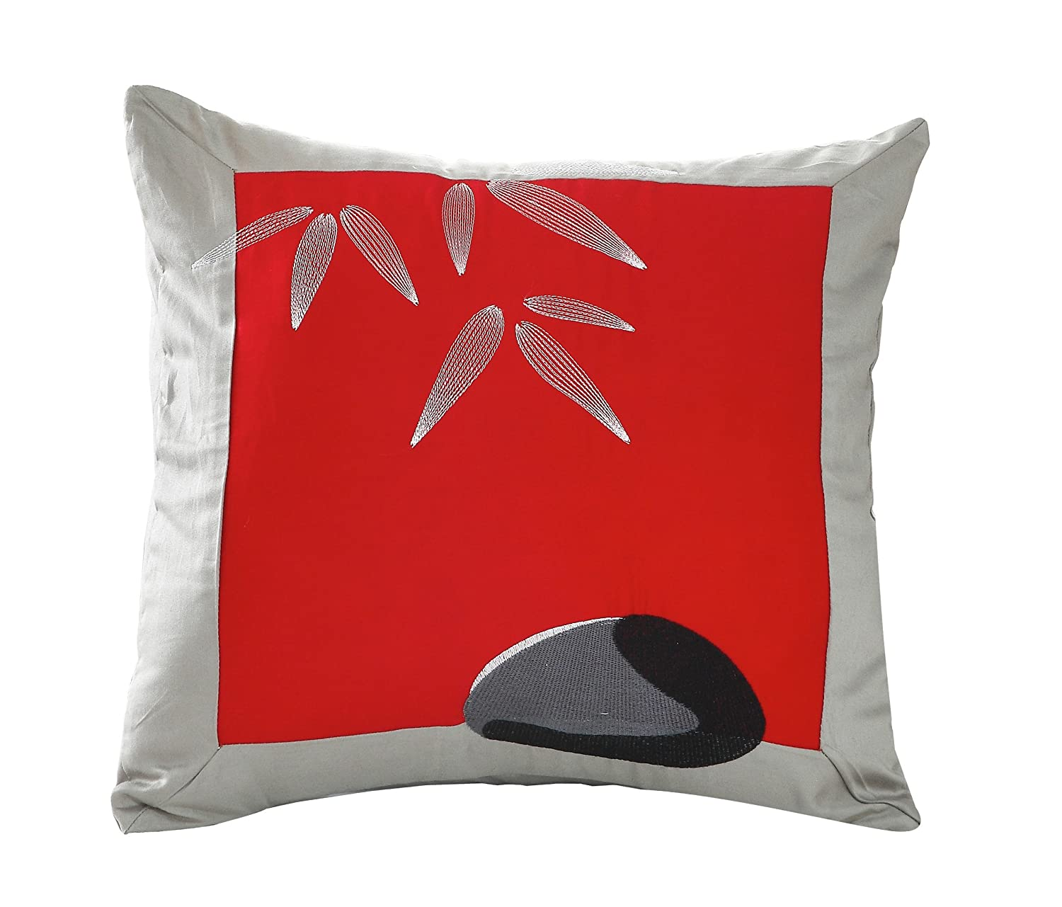 silver and black pillow slip Euro sham cover oversized pillowcase 26x26 Asian inspired decorative contemporary fashionable design with Zen calligraphy Japanese poetry verse orientsense COMINHKR041887 Red