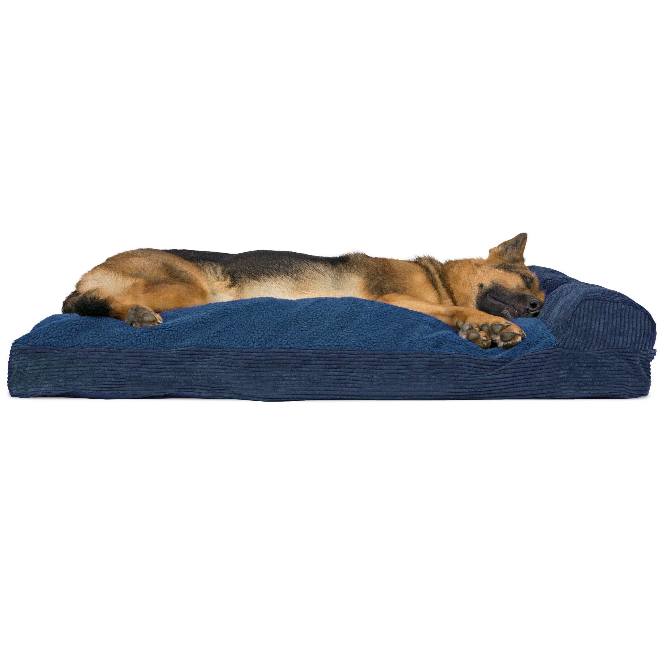 FurHaven Faux Fleece & Corduroy Chaise Lounge Pillow Sofa-Style Pet Bed, Jumbo, Navy Blue