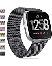 HUMENN for Fitbit Versa Strap Bands, Luxury Milanese Stainless Steel Adjustable Smart Watch Strap with Magnetic Closure for Fitbit Versa Rose Gold Silver Colourful S & L
