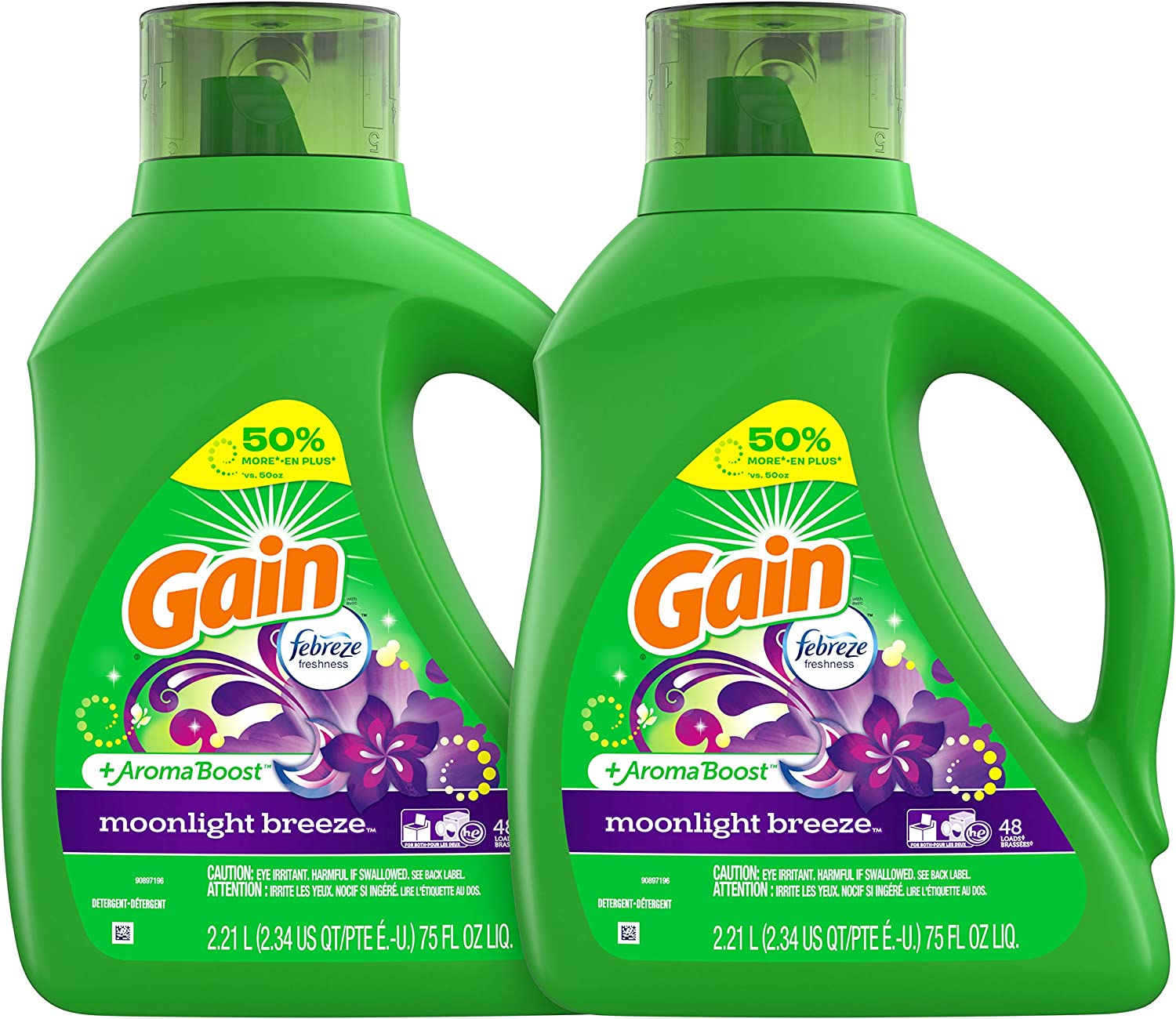 Gain Liquid Laundry Detergent, Moonlight Breeze, 2 Count, 75 fl oz Each, 96 Total Loads