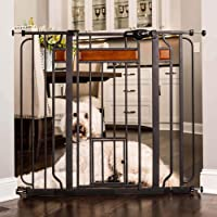 Carlson Home Design Extra Tall Walk Thru Pet Gate with Small Pet Door, Includes Décor Hardwood, 4-Inch Extension Kit, 4…