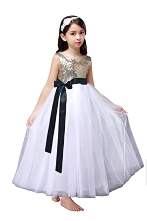 6696534ea00 Shop Ginger Wedding Gold Sequin Flower Girl Christmas New Year Party Ankle  Floor Length Dress D26