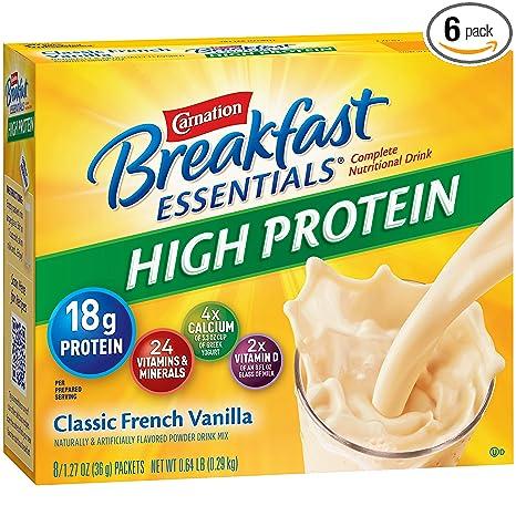 Carnation Breakfast Essentials High Protein Powder Drink Mix, Classic French Vanilla, Box Of 10 Packets (Pack Of 6) by Carnation Breakfast Essentials