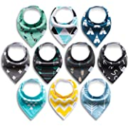 Baby Bandana Drool Bibs, Unisex 10-Pack Gift Set for Drooling and Teething, 100% Organic Cotton, Soft and Absorbent, Hypoallergenic - 10 Stylish Designs for Cute Newborn and Cool Baby