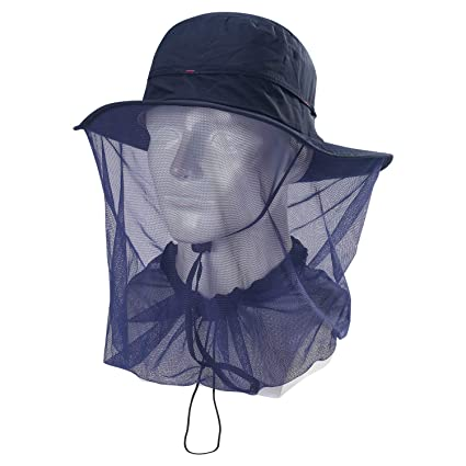 e3891319745 ... Mosquito Head Net Hat - UPF 50+ Sun Hat with Mesh Face Neck Mask  Protection from Insect Bug Bee Gnats for Fishing Hiking Gardening   Sports    Outdoors