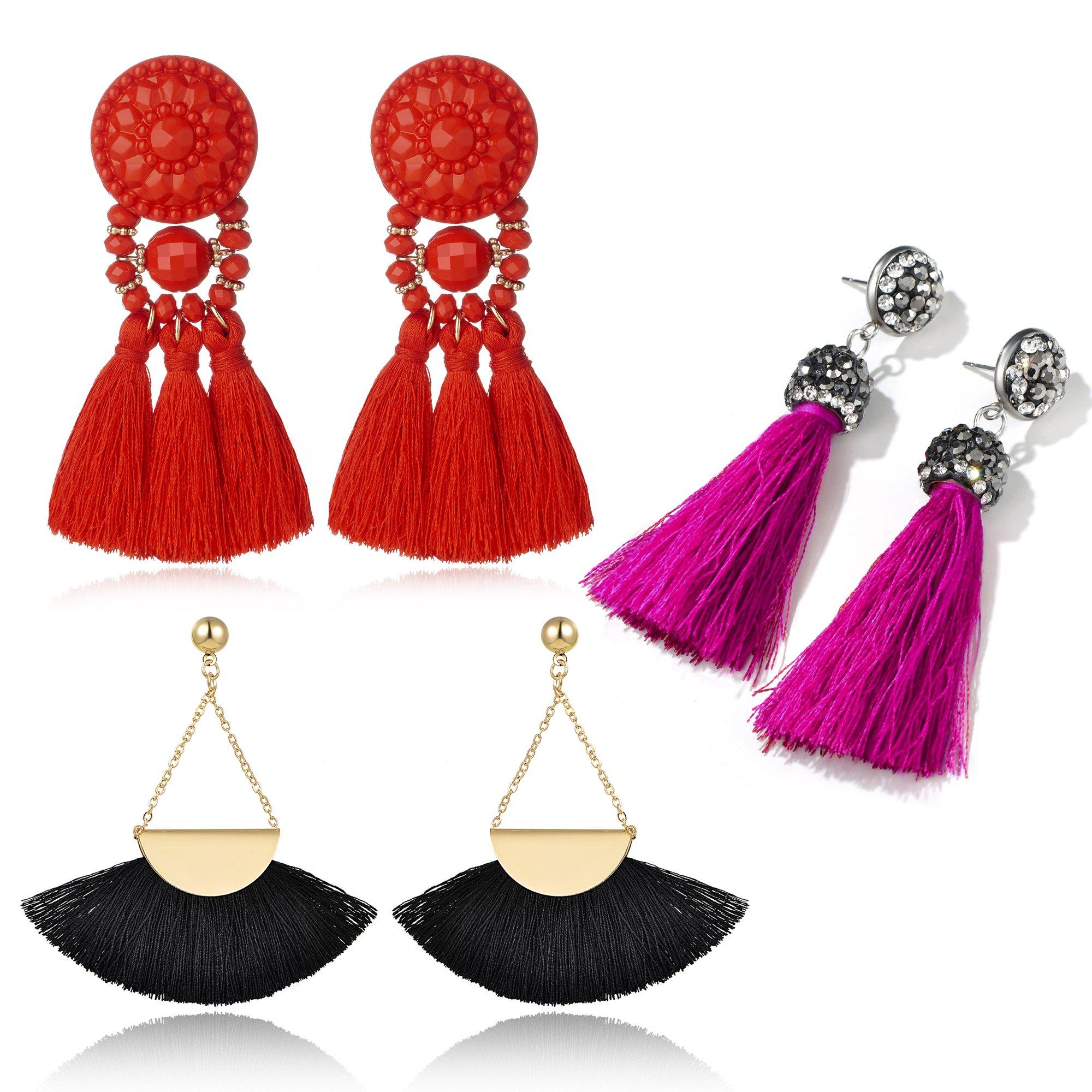 Yanxyad Multicolored Short Wool Tassel Earrings for Women Colorized Thread Fringe Earrings for Girls