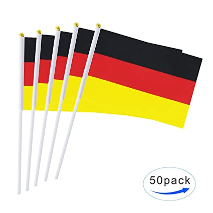 AuTop 50 Pack Small German Germany Stick Flag,Mini Hand Held International  Countries Stick Flags Banner World Cup Decorations