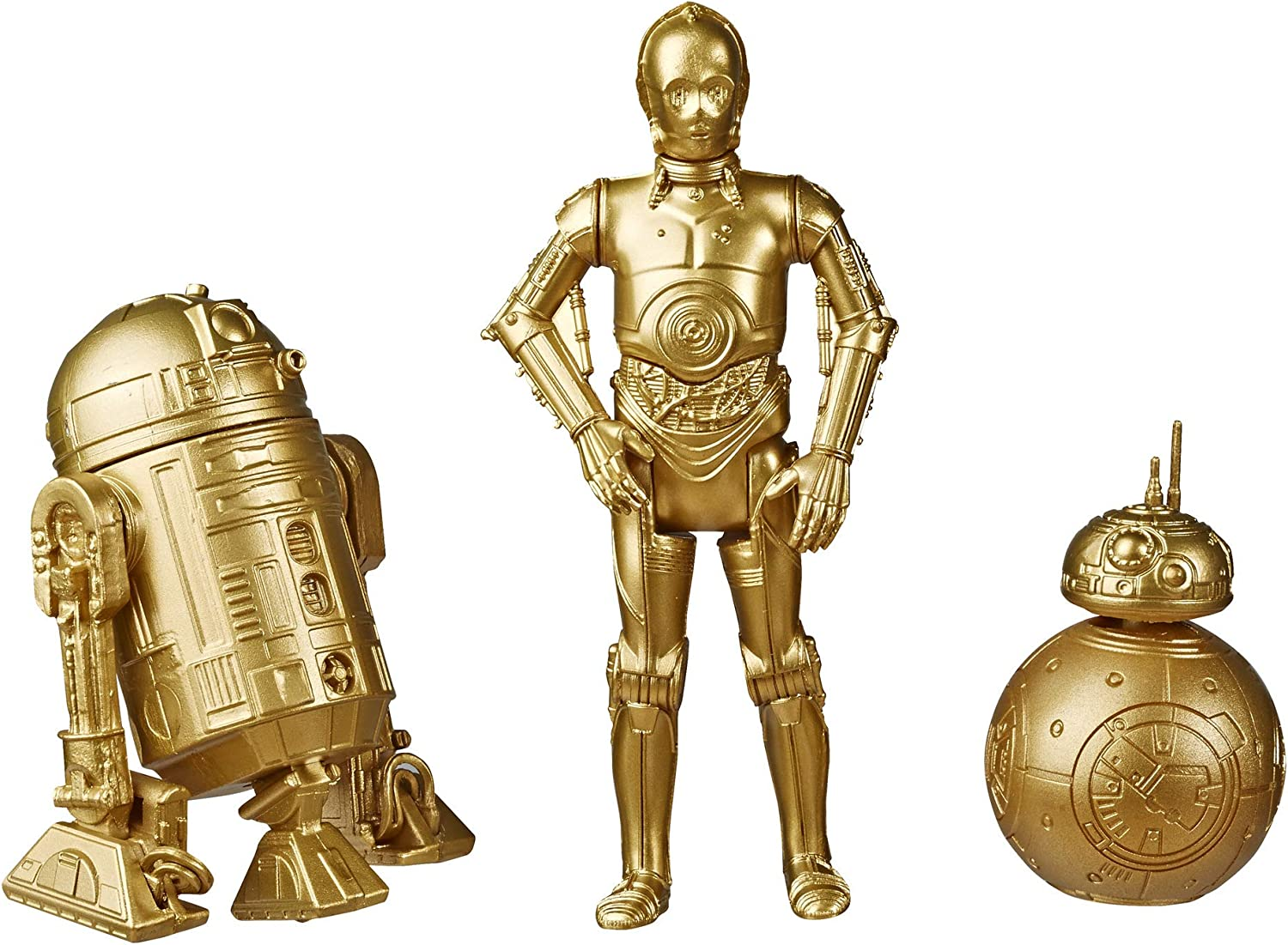 Star Wars Skywalker Saga Commemorative Edition Gold Collectors Series C-3PO, BB-8 and R2-D2 Action Figures 3 Piece Set 2 - 3.5 inches