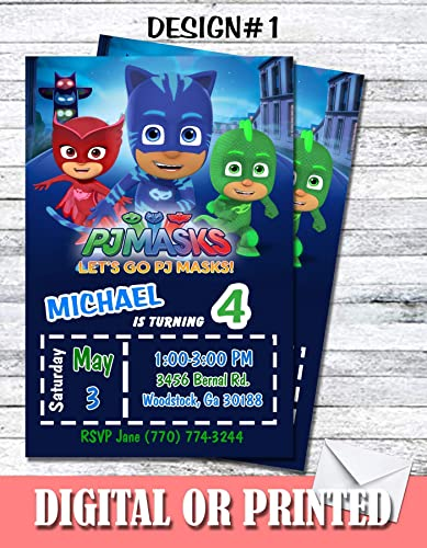 Amazon Pj Masks Personalized Birthday Invitations More Designs