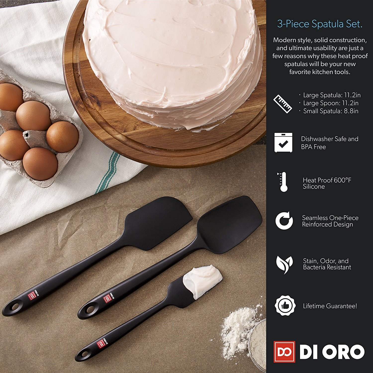Award-Winning Pro-Grade Black 4-Piece Seamless Silicone Spatula Set By DI ORO Large Spatula Small//Mini Spatula 600/°F Heat-Resistant Premium Rubber Spatulas and Jar Spatula di Oro Living DOL-SSS-005 Best Spoonula