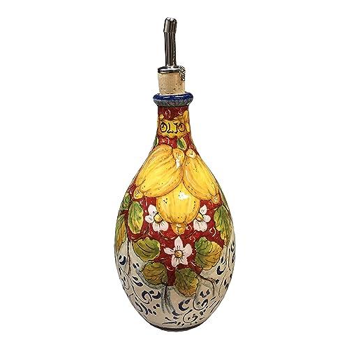 CERAMICHE D ARTE PARRINI – Italian Ceramic Art Pottery Oil Cruet Bottle Decorated Lemons Hand Painted Made in ITALY Tuscan