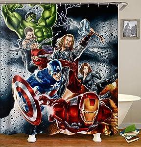 nobrand OceanCube Shower Curtain Set Cartoon Hulk Iron Man Captain America and Thor on Black Background Super Hero Style Polyester Fabric Bath Curtain Durable Bathroom Curtain with Hooks 71X71 Inch