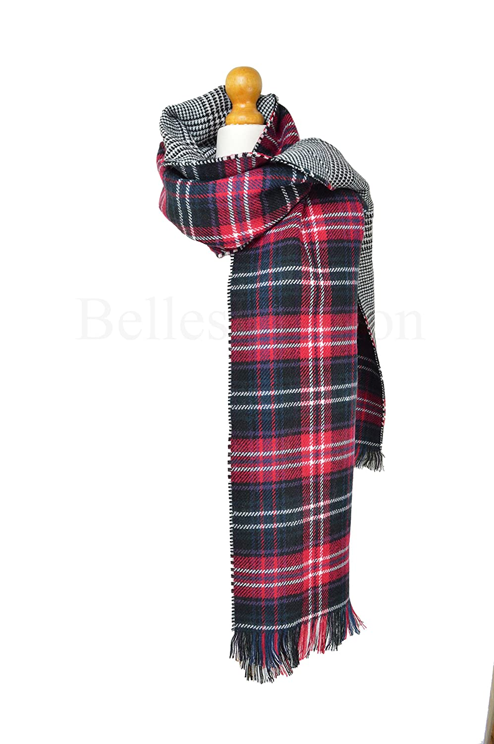 Red Tartan Two Sided Blanket Wrap/Shawl/Scarf Oversized Thick ...