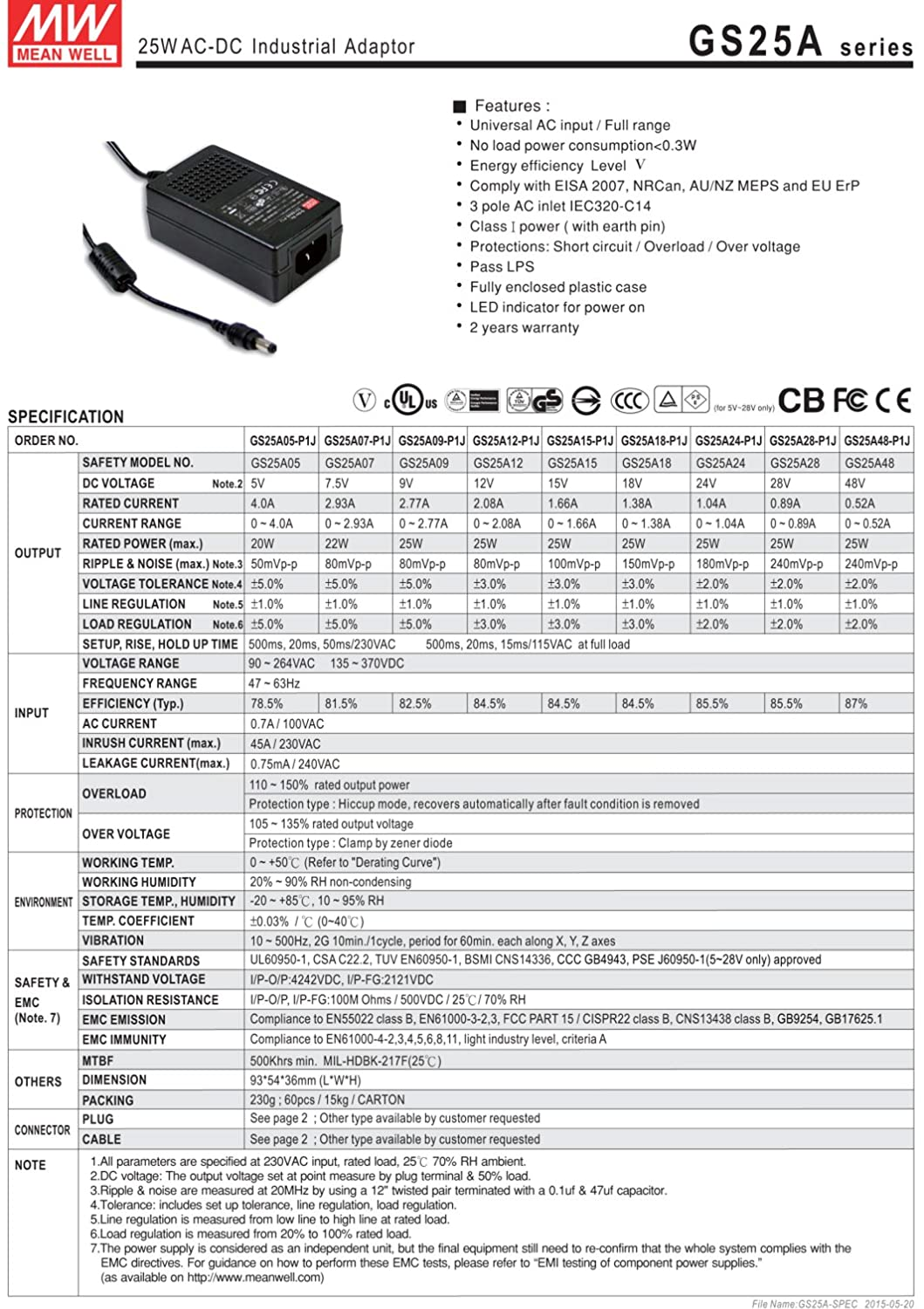 Amazon.com: MEAN WELL original GS25A12-P1J 12V 2.08A meanwell GS25A 12V 25W AC-DC Industrial Adaptor: Industrial & Scientific