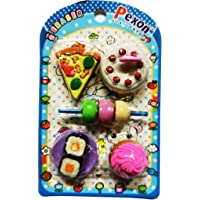 AK Store 3D Fast Food Shaped Rubber Pencil Erasers for Kids, Birthday Return Gifts (Set of 5)
