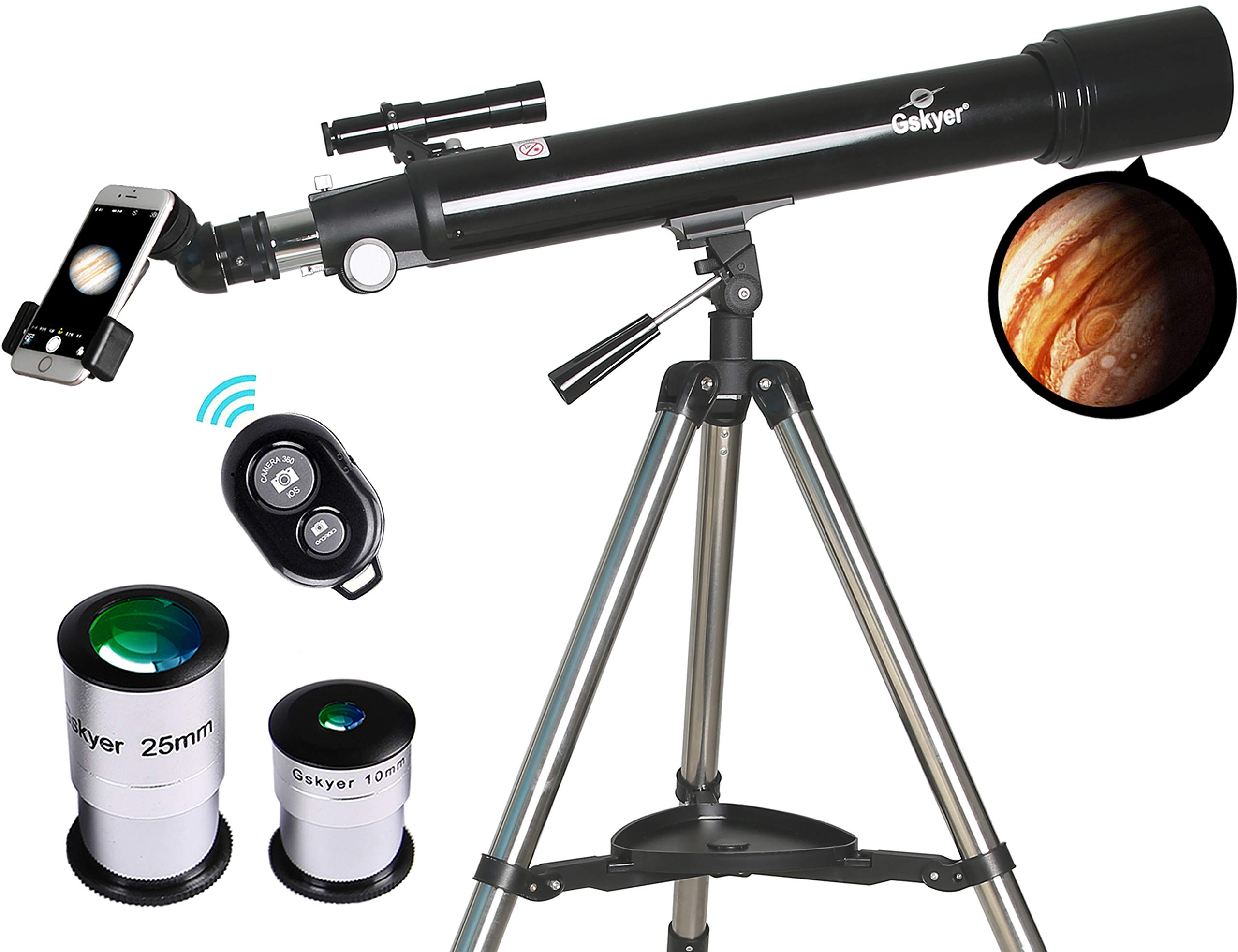 Telescope, Astronomy Refractor Telescopes, 70mm Apeture Scope 700mm AZ Mount for Astronomy Beginners with Tripod & Smartphone Adapter & Wireless Camera Remote by Gskyer