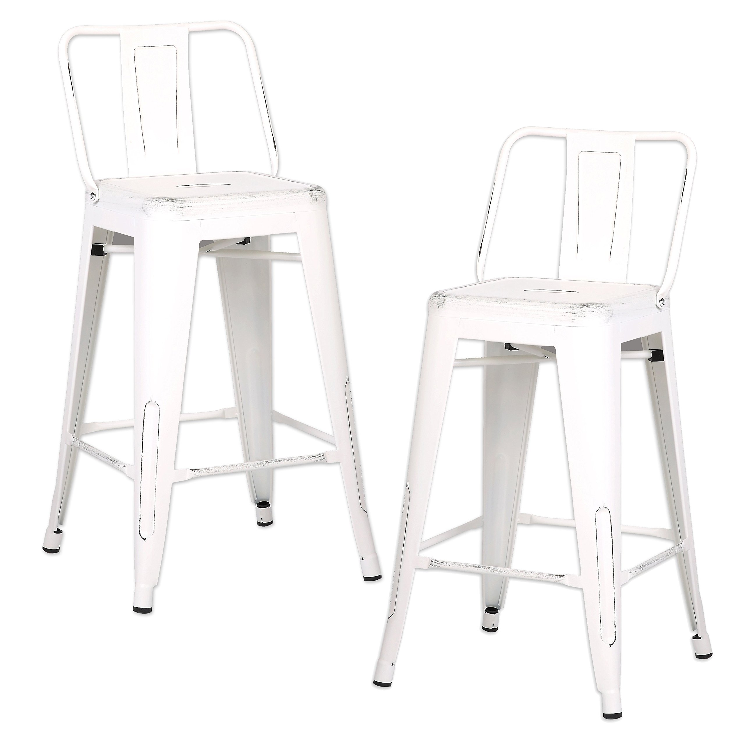 AC Pacific Modern Industrial Metal Barstool with Bucket Back and 4 Leg Design, 24'' Seat Bar Stools (Set of 2), Distressed White Finish by AC Pacific