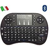 Mini tastiera Bluetooth (layout ITALIANO) - Mini tastiera con mouse touchpad per Tablet, Smartphone, Mini PC, Computer, PlayStation, HTPC