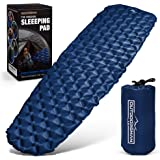 (Blue) - OutdoorsmanLab Ultralight Sleeping Pad - Ultra-Compact For Backpacking, Camping, Travel W/ Super Comfortable Air-Support Cells Design Blue